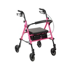 Drive Medical Breast Cancer Awareness Adjustable Height Rollator, Pink - 1 ea