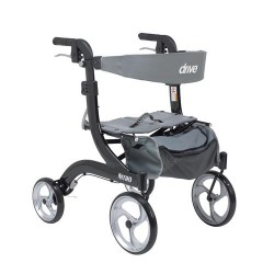 Drive Medical Nitro Euro Style Walker Rollator, Hemi Height, Black - 1 ea