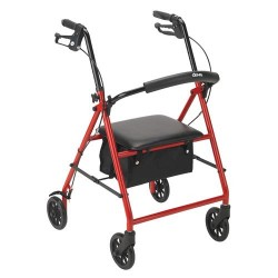 Drive Medical Rollator with 6 inches Wheels, Red - 1 ea