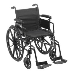 Drive Medical Cruiser X4 Lightweight Dual Axle Wheelchair with Adjustable Detachable Arms, Desk Arms, Swing Away Footrests, 20 inches Seat - 1 ea