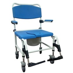 Drive Medical Aluminum Bariatric Rehab Shower Commode Chair with Two Rear-Locking Casters - 1 ea
