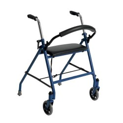 Drive Medical Two Wheeled Walker with Seat, Blue - 1 ea