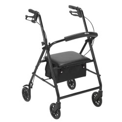 Drive Medical Rollator with 6 inches Wheels, Black - 1 ea
