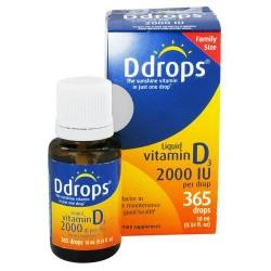 Ddrops liquid 2000 iu vitamin d3 drops - 0.34 oz, 365 drops