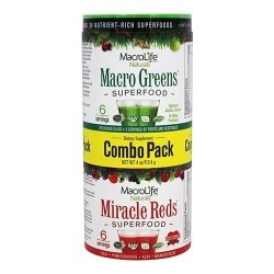 MacroLife Naturals Miracle Reds and Macro Greens Super Food 6 Servings Combo Pack, 4 oz