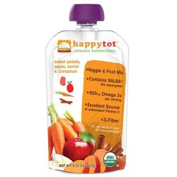 Happybaby happytot organic superfoods sweet potato, carrot, apple & cinnamon -  4 oz