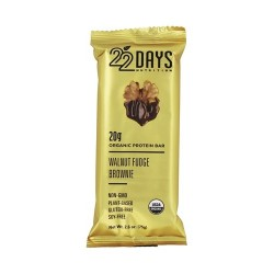 22 Days Nutrition organic protein bar, Walnut fudge brownie - 2.6 oz, 12ea