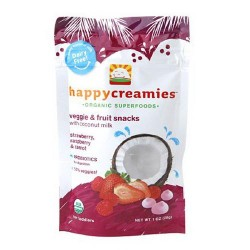 Happy creamies strawberry and raspberry veggie and fruit snacks - 1 oz, 8 pack