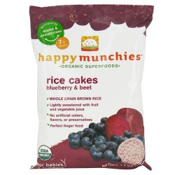 Happybaby happy munchies organic superfoods rice cakes blueberry and beet - 1.4 oz, 10 Pack