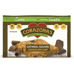 Corazonas oatmeal squares bars, chocolate chip - 1.76 oz, 12 pack