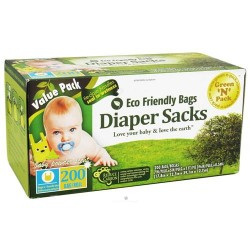 Green 'n' pack eco friendly bags - diaper sacks with handle ties value pack - 200 bags