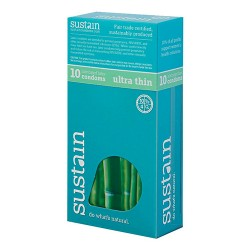 Sustain lubricated latex ultra thin condoms - 10 ea