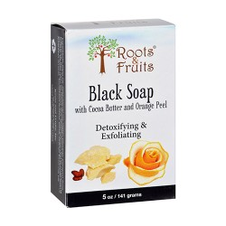 Roots and fruits bar soap black soap cocoa butter and orange peel - 5 oz