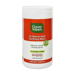 CleanWell All-Natural Hand Sanitizing Wipes, Orange Vanilla - 40 ea