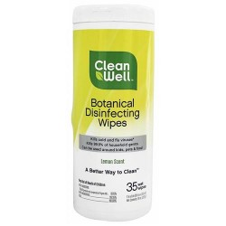CleanWell Botanical Disinfecting Wipes, Lemon Scent - 35 ea