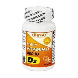 Deva nutrition vitamin d2 800 iu tablets, vegan - 90 ea