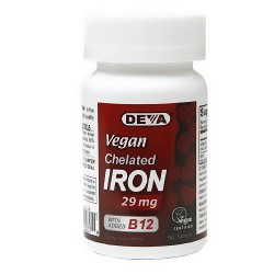 Deva Vegan Chelated Iron 29 mg with B12 - 90 tablets