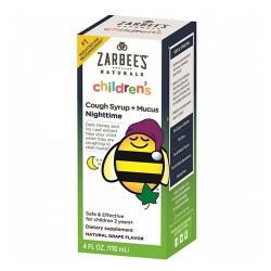 Zarbees naturals childrens nighttime cough syrup + mucus reducer, grape - 4 oz