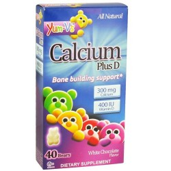 Yum-vs calcium plus d bears, white chocolate - 40 ea