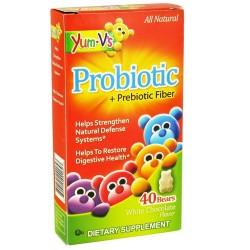 Yum-vs -probiotic plus prebiotic fiber, white chocolate bears - 40 ea