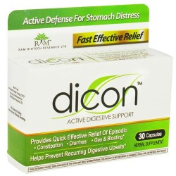 Dicon active digestive support capsules, herbal supplement - 30 ea