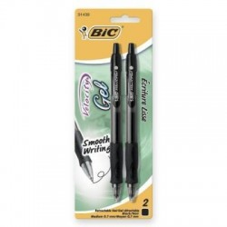 Bic velocity gel retractable refillable pen, black - 6 ea