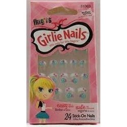 Self stick nails blu tip with flower by pacific world - 2 ea