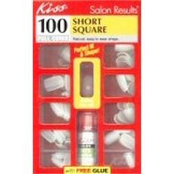 Kiss full cover nails kit, short square - 100 ea, 2 pack