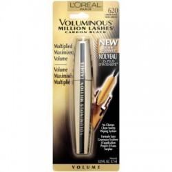 L'oreal voluminous million lashes eye mascara, carbon black - 3 ea