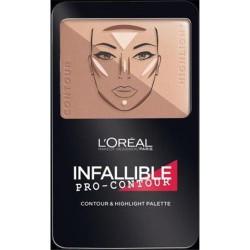 Loreal paris infallible pro contour contourand highlight palette, medium - 2 ea