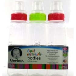 Gerber first essentials bottles with silicone nipple, green and pink  - 3 ea