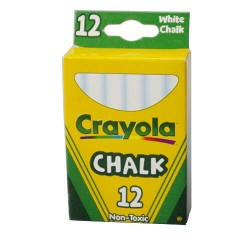Crayola nontoxic chalk sticks, white color - 12 ea
