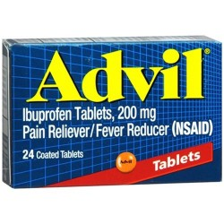 Advil pain reliever and fever reducer ibuprofen coated 200mg tablets - 24 ea