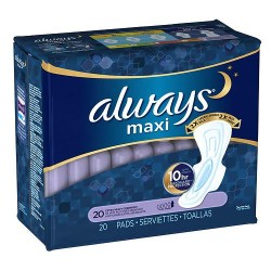 Always maxi pads extra heavy flow overnight protection with flexi wings - 20 ea