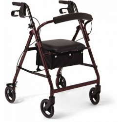 Rollator 4wheel burgundy w/padded seat medline - 1 ea