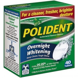 Polident overnight whitening tablets - 40 ea