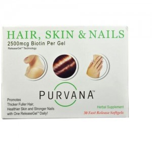 Wellgenix purvana hair skin and nails 2500mcg biotin - 30 ea