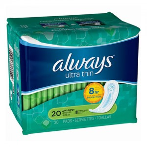 Always ultra thin pads, long super w/flexiwings - 3 ea