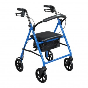 "Drive Medical steel walker rollator with 8"" wheels, blue - 1 ea"