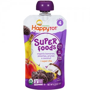 Happy tot organics super foods, bananas, peaches, prunes and coconut super chia - 4.22 oz