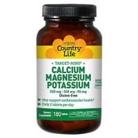Country Life Target Mins Calcium Magnesium Potassium 500mg/500mg/99mg tablets  - 180 ea