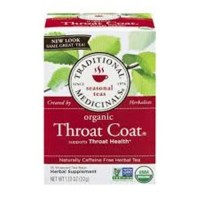 Traditional medicinals herbal tea organic caffeine free throat coat tea bags  -  16 ea, 6 pack