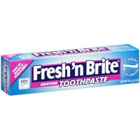 Fresh n brite regular paste & gel 2 layer denture toothpaste - 3.8 oz
