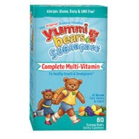 Yummi bears sugar free multivitamin and Mineral gummy bears natural fruit  for Kids - 60 ea