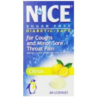 Nice sugar free lozenges for coughs and minor sore throat pain, citrus - 24 ea