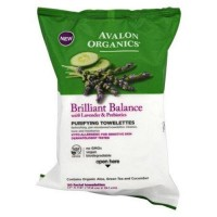 Avalon organics brilliant balance with lavender and prebiotics purifying towlettes - 30 ea ,6 pack