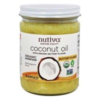 Nutiva organic refined coconut oil buttery flavor -14 oz, 6 pack