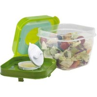 Fit and fresh salad shaker with removable ice pack and dressing dispenser - 1 ea