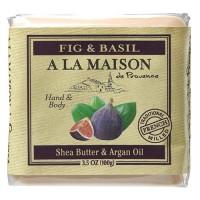 A La Maison de provence hand & body bar soap, fig & basil - 3.5 oz