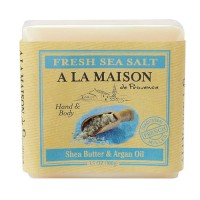 A La Maison traditional french milled bar soap for hand & body fresh sea salt, shea butter & argan oil - 3.5 oz